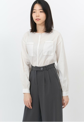 We Enjoy Simplicity white Contrast Lined Crop Blouse 93FDAAA68E0C67GS_1