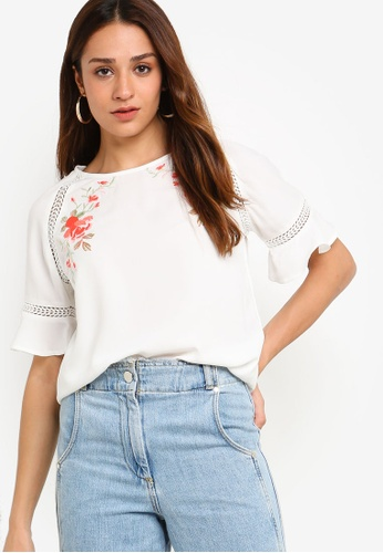 ZALORA white Embroidered Top 44CE8AA32408DBGS_1
