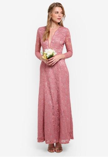 ZALORA pink Bridesmaid Deep V Neck Lace Dress D3C95ZZ6439762GS_1