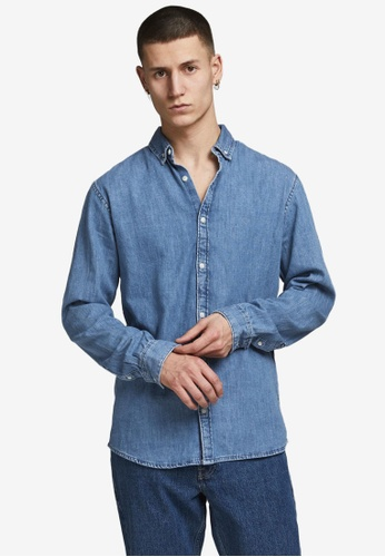 JACK & JONES blue Felix Denim Shirt CB768AA9DCF93CGS_1