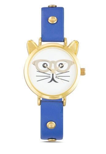 Something Borrowed navy Cat Face with Studded PU Strap Watch D2D26AC8ADD84BGS_1