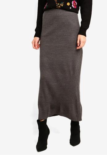Brave Soul grey Ribbed Maxi Skirt 94AA4AA8C4D0CFGS_1