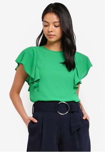 WAREHOUSE green Ruffle Side Top 1119CAA7108F04GS_1