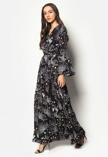 esprit官網花卉印花喇叭袖長洋裝, 服飾, 洋裝