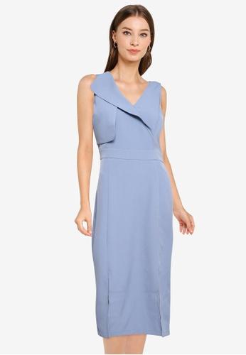 ZALORA WORK blue Overlap Dress With Slits 578F3AAE2C33D7GS_1