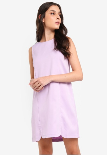 ZALORA purple U Slits Detail Shift Dress 0A9C1AA485A78DGS_1