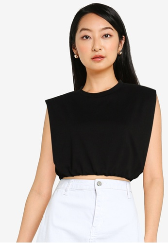 ZALORA BASICS black Shoulder Pad Crop T Shirt C49C1AAB7308BDGS_1