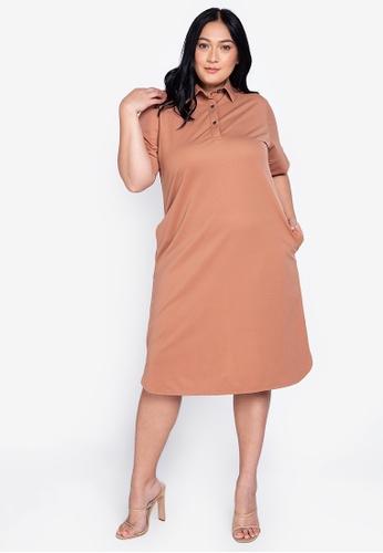 Maxine brown Plus Size Short Sleeves Shirt Dress 9CCC0AA6AC259FGS_1