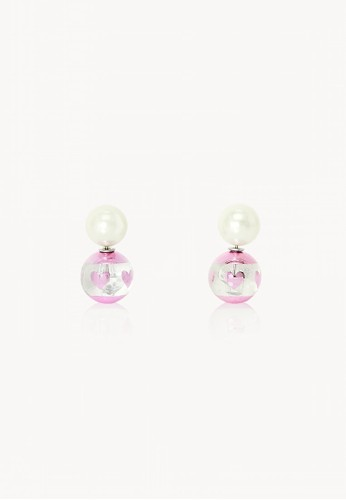 Pomelo pink Pearl Heart Ball Stud Earrings - Pink 0455CACC816251GS_1