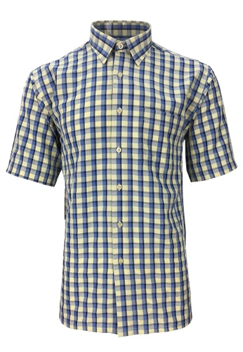 Pacolino yellow Pacolino - Korea Polynosic Wrinkle Free Checker Formal Casual Short Sleeve Men Shirt 6E6EDAA808877CGS_1