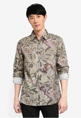 URBAN REVIVO green Casual Printed Shirt EA044AAF48E336GS_1