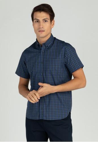 Wharton navy Plaid Short-Sleeve Regular fit shirt C4162AACF1776BGS_1