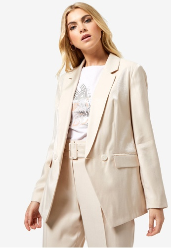 Dorothy Perkins white Shimmer Tailored Double Breasted Blazer Jacket F9C48AAA9BD77DGS_1