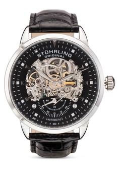 Executive 鏤空皮革帶圓錶