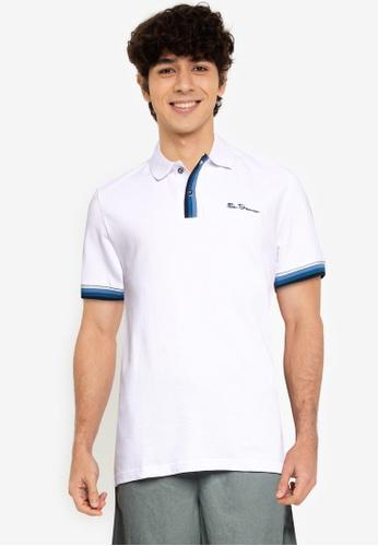 Ben Sherman white Placket Interest Polo Shirt 24C94AA13DEA61GS_1