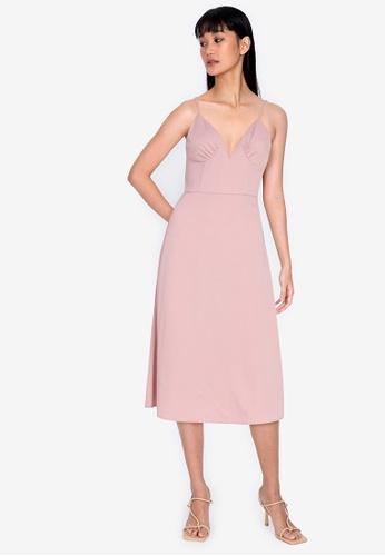 ZALORA BASICS pink Sweetheart Cut Out Midi Dress 98C40AA355DB6DGS_1