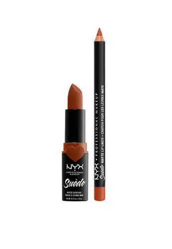 NYX Professional Makeup brown NYX Professional Makeup Suede Matte Lippie Duo Peach Don't Kill My Vibe D833BBE7C8A484GS_1
