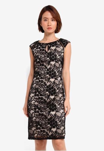 Wallis black Black Constrast Lace Shift Dress 5B754AAEAC8DCBGS_1