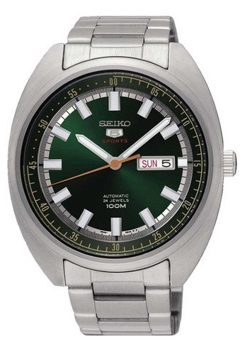 Seiko 5 Sports Turtle Green And Silver Stainless Steel Watch