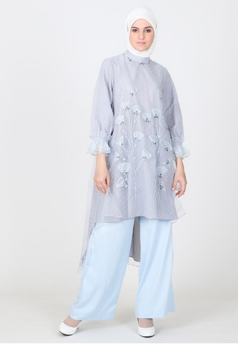 BellyBee blue Aurellie Bloom Tunik E425BAAE70B980GS_1