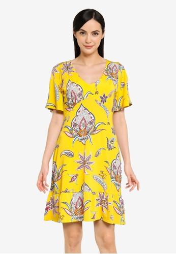 Desigual yellow V-neckline Print Dress 2564AAACF76D27GS_1