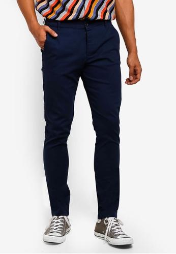 Topman 藍色 Navy Stretch Skinny Chinos C0C16AA1AE3ECBGS_1