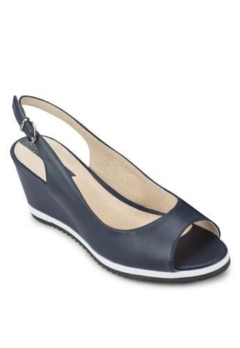 繞踝魚口zalora 手錶楔形跟鞋, 女鞋, 魚口楔形鞋