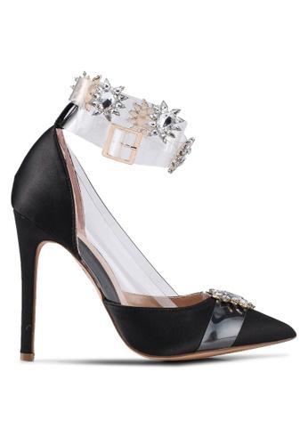 Public Desire 黑色 透明繞帶鑽飾高跟鞋 E9838SH44A1999GS_1