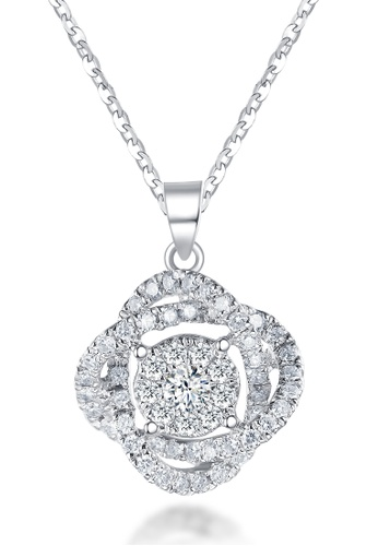 Prince Jewellery And Watch white and silver and gold 18K White Gold Diamond Flower Pendant with Chain 7ED8AAC77766B1GS_1