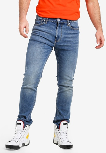 Calvin Klein 藍色 修身直筒牛仔褲 F1EC6AAD403D31GS_1