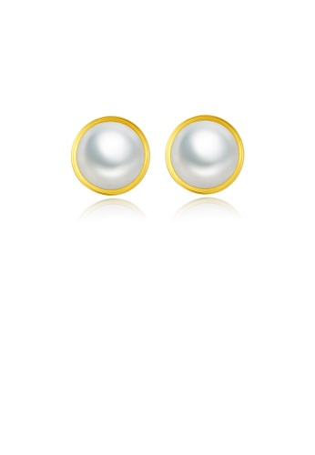Glamorousky white 925 Sterling Silver Plated Gold Freshwater Pearl Geometric Round Stud Earrings 3D1FBAC417F243GS_1