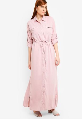 Zalia pink Drawstring Shirt Dress 02420AA2A3963FGS_1