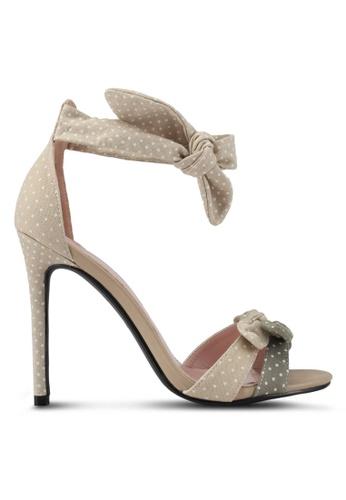 Velvet 米褐色 點點蝴蝶結繞踝高跟鞋 EFA77SH11CE1DCGS_1