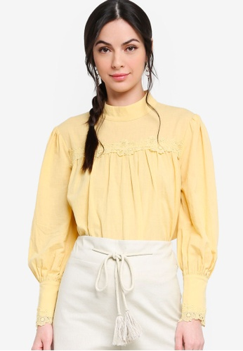 Zalia yellow Babydoll Blouse with Lace Trimming 7B1DBAAF267AEDGS_1