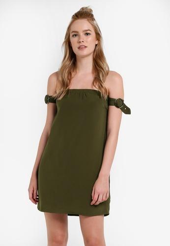 Something Borrowed green Sleeve Detail Off Shoulder Dress 52103AAB1EE2C6GS_1