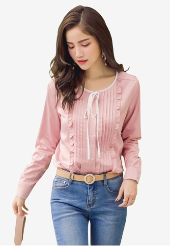 Yoco pink Ruffle Detail Satin Blouse 75A48AA96335B6GS_1