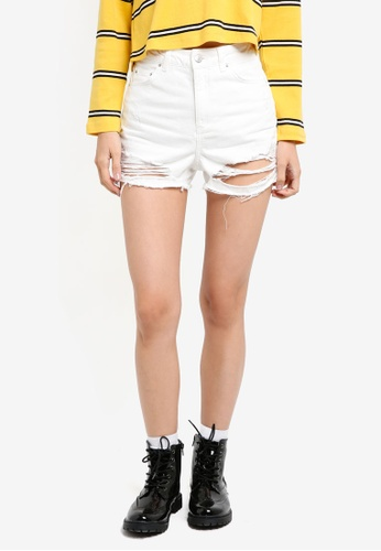 TOPSHOP white Moto Ripped Mom Shorts EF258AAA42841BGS_1