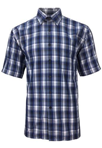 Pacolino blue Pacolino - Korea Polynosic Wrinkle Free Checker Formal Casual Short Sleeve Men Shirt 8C9FFAA14B37A1GS_1