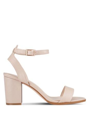 ZALORA 米褐色 露趾繞踝粗跟鞋 80165SH7917821GS_1