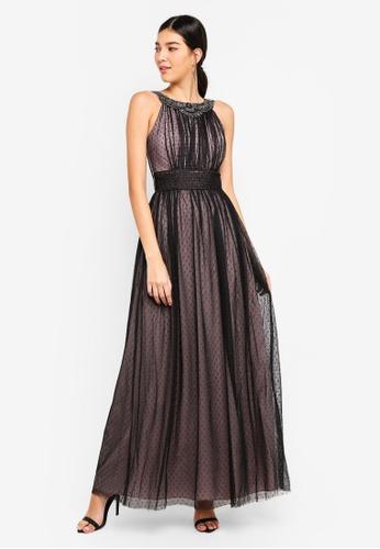 Little Mistress black Black Spot Mesh Maxi Dress 9E22BAA938BF8FGS_1