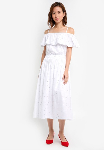 ZALORA white Cami Midi Dress 472D1AA7367399GS_1