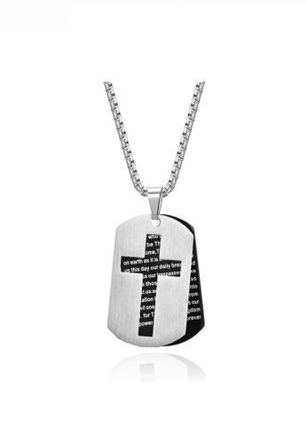 HAPPY FRIDAYS black Hollow Cross Religious Words Army Necklace JW QF-DZ288 A0A67AC89A1EBBGS_1