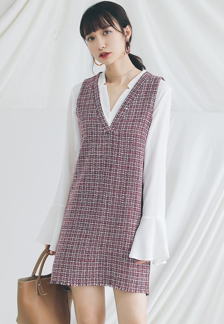 Dress Tweed Red Shopsfashion Tweed Vest Vest nawxqtB
