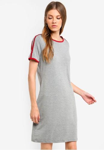 Brave Soul 灰色 條紋T恤洋裝 681B2AAADD4DC3GS_1