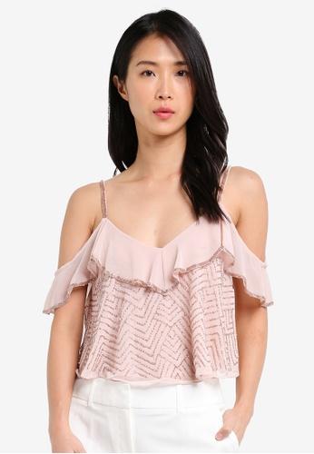 Miss Selfridge pink Pink Ruffle Embellished Camisole Top MI665AA0SLERMY_1