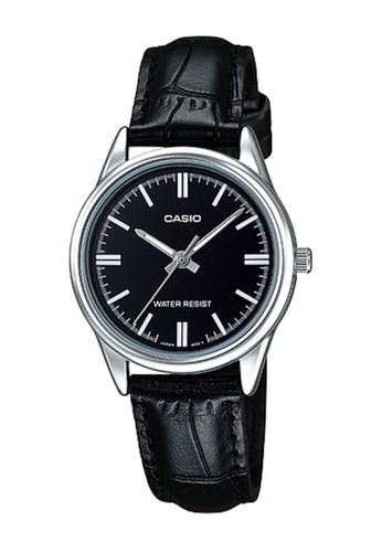 Casio black Casio Analog Jam Tangan Wanita - Hitam - Strap Kulit - LTP-V005L 12e9990b54