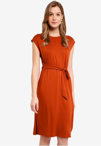 Cotton On orange Fiona Tie Waist Midi Dress 76083AA8906148GS_1