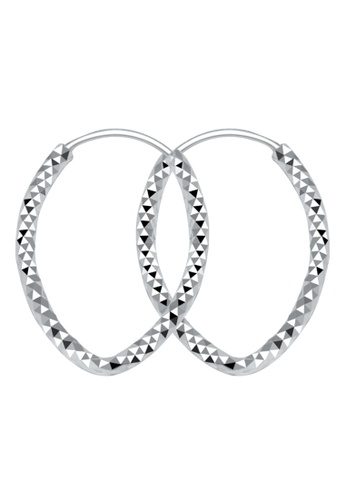 SC Tom Silver silver Oval tri texture Loop Earring SC872AC28HLFPH_1