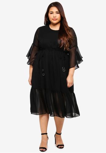 ELVI black Plus Size Black Fluted Sleeve Dress 2CBDCAA733D2D5GS_1