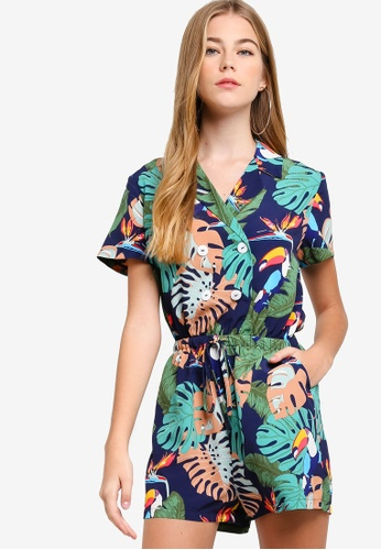 Something Borrowed navy Button Shirt Playsuit 4F6B6AAC52EA81GS_1